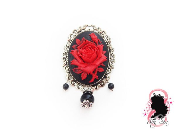 "2"" Antique Silver and Red Rose Brooch"